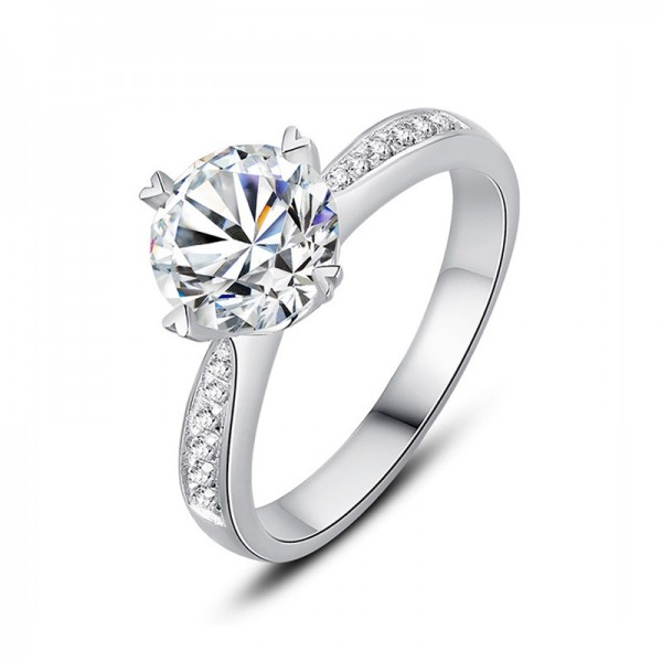 925 Sterling Silver Ring For Women Heart-shaped Claws Optional 0.6/1.0/1.5 Carat Diamond Luxury and Fashion