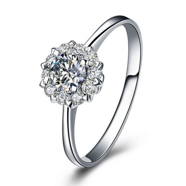 Beautiful Fashion Flowers Round Inlaid Cz S925 Sterling Silver Engagement Ring/Promise Ring