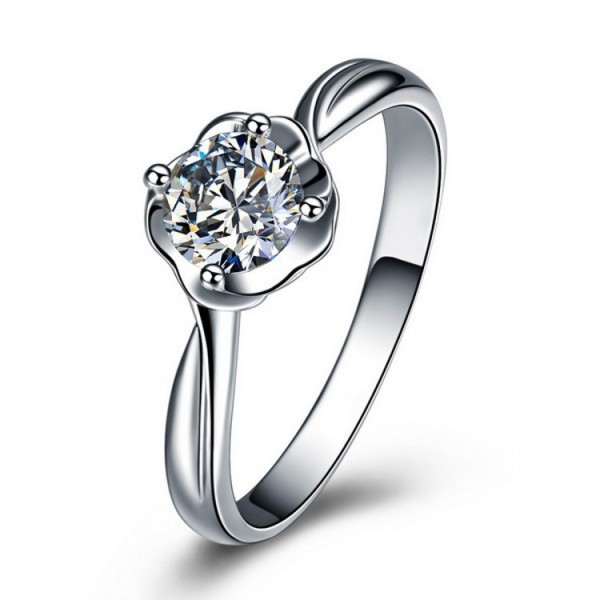 Originality Rouse Shape Inlaid Cz S925 Sterling Silver Engagement Ring/Promise Ring