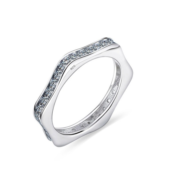 925 Sterling Silver Ring For Women Inlaid Cubic Zirconia Polygon Design Simple and Fashion