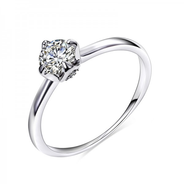 925 Sterling Silver Ring For Women Inlaid Cubic Zirconia Classic Four Claws Design Simple and Fashion Polish Craft
