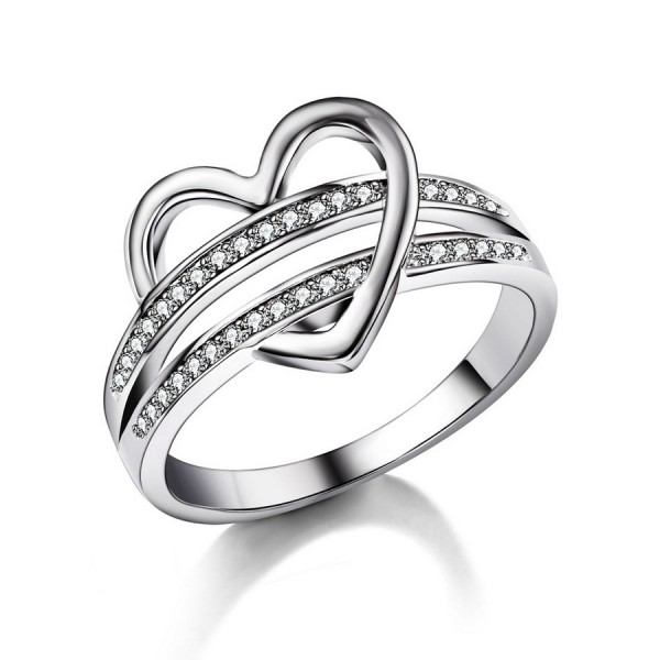 925 Sterling Silver Ring For Women Inlaid Cubic Zirconia Heart-shaped Decoration Unique Design Leisure and Fashion