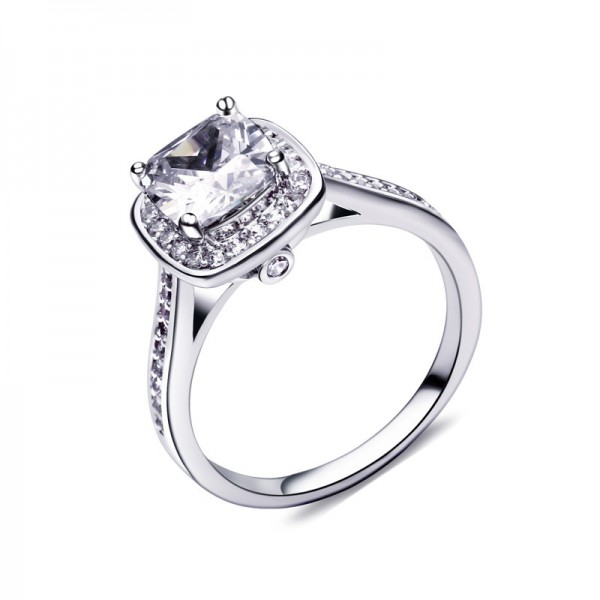 925 Sterling Silver Ring For Women Inlaid Cubic Zirconia Classic Four Claws Exquisite and Liberality Optional Colors