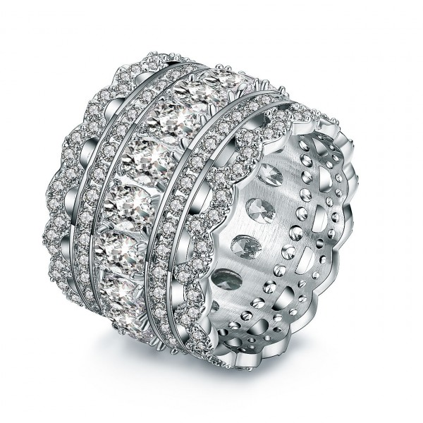 925 Sterling Silver Ring For Women Inlaid Cubic Zirconia Hollow Design Luxury and Exquisite