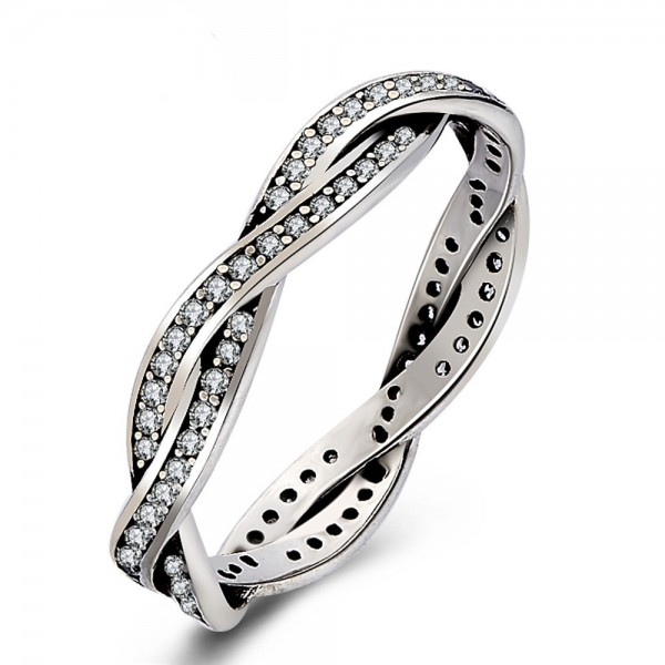 925 Sterling Silver Ring For Women Inlaid Micro-diamond Interwined Design Simple and Fashion