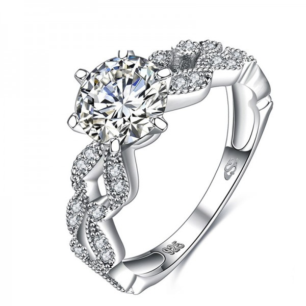 925 Sterling Silver Six Claw Diamond Ring New Fashion Jewelry For Women