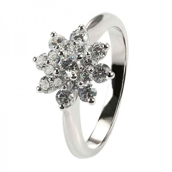 925 Sterling Silver Ring For Women Inlaid Cubic Zirconia Snow Design Plating Platinum Elegant and Liberality