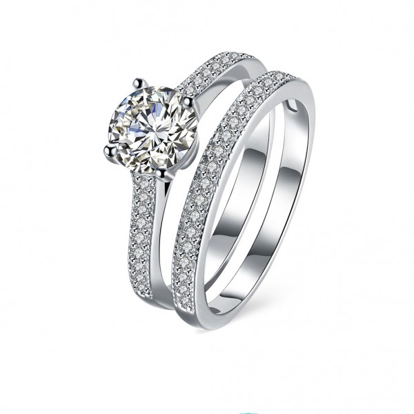 925 Sterling Silver Ring For Couple Inlaid Cubic Zirconia Micro-diamond Decoration Fashion and Liberality