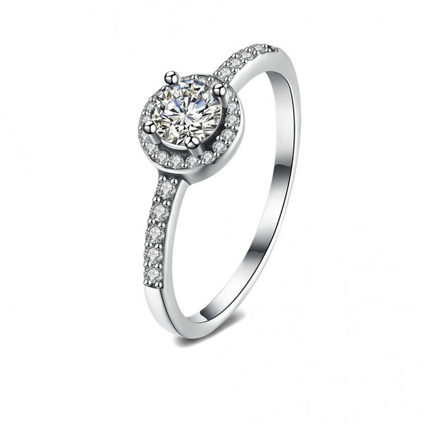 925 Sterling Silver Ring For Women Inlaid Cubic Zirconia Round Design Micro-diamond Decoration Exquisite and Fashion