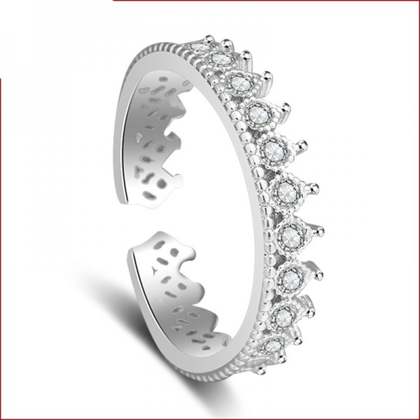 925 Sterling Silver Ring For Women Crown Design Inlaid Cubic Zirconia Plating Platinum Simple and Fashion