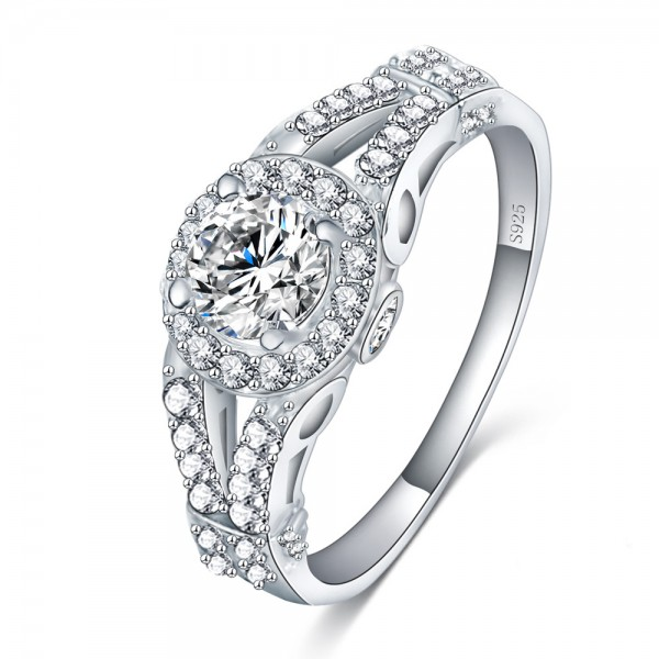 925 Sterling Silver Ring For Women Inlaid Cubic Zirconia Round Design Micro-diamond Decoration Liberality and Exquisite