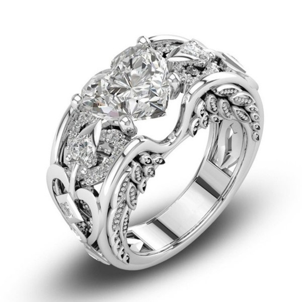 Princess Ring Heart-Shaped Birthday Stone Engagement Ring European WoMen's Jewelry