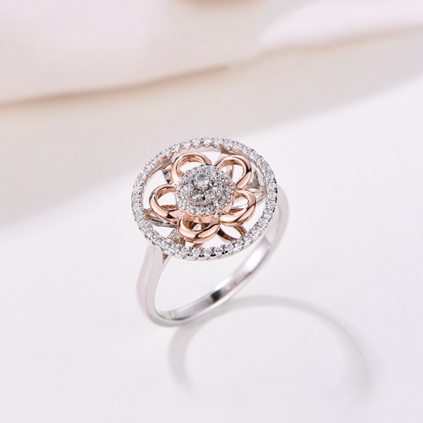 925 Sterling Silver Ring For Women Rose Gold Flower Design Inlaid Cubic Zirconia Fashion and Exquisite Polish Craft
