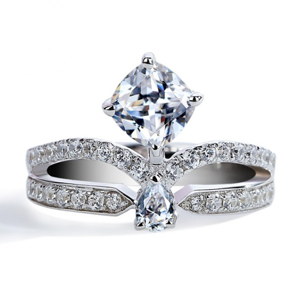 925 Sterling Silver Ring For Women Inlaid Cubic Zirconia Rhombic Crown Design Micro-diamond Design Exquisite and Fashion