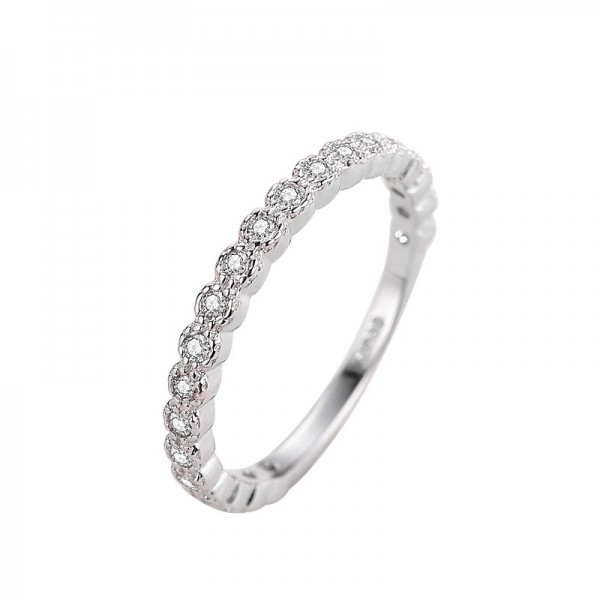 925 Sterling Silver Ring For Women Inlaid Cubic Zirconia Simple and Fashion Style Polish Inner Arc Design