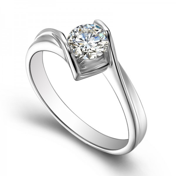 Round Cut Cz 925 Silver Ring For Women Wedding/Engagement Ring