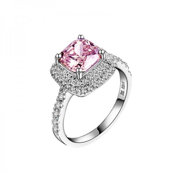1.0CT 2.0CT Square Diamond Color Gem Powder Diamond Ring Female