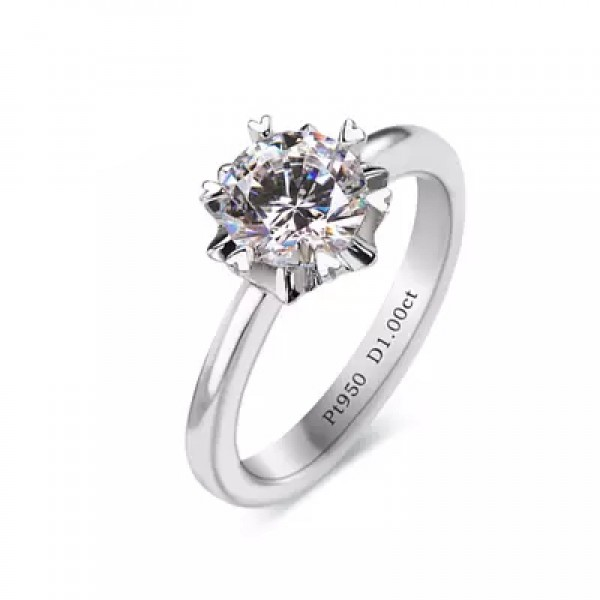 Snowflake Diamond Ring Sterling Silver Korean Simple Diamond Wedding Ring