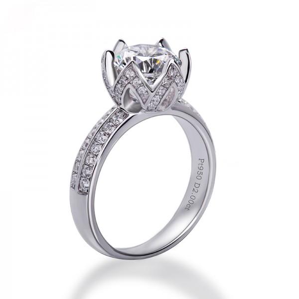 Flower 1.0CT 2.0CT 3.0CT Diamond Ring Sterling Silver Zircon Luxury Retro Creative Lotus Ring