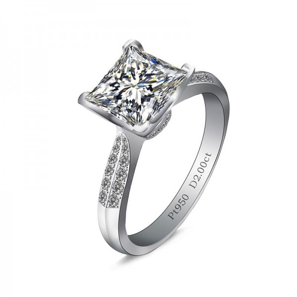 Princess Diamond Ring Female Sterling Silver 2 Carat Cut Diamond Ring