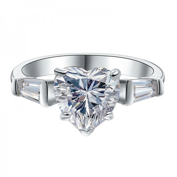 Heart Diamond Female 1.0CT 2.0CT 925 Sterling Silver Plated Promise Ring