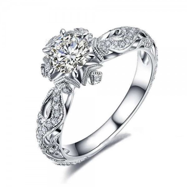Women Retro Hollow Ring Sterling Silver Platinum Ring