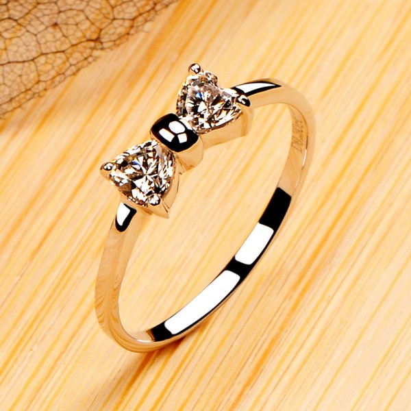 925 Sterling Silver Ring For Women Bow Tie Design Polish Craft Elegant and Exquisite