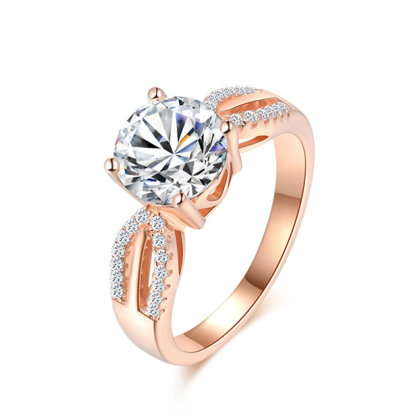 925 Sterling Silver Ring For Women Inlaid Cubic Zirconia 2.0 Carat Plating Rose Gold Interwined Design Luxury and Noble Polish Craft