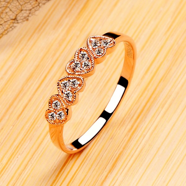 925 Sterling Silver Ring For Women Inlaid Cubic Zirconia Heart-shaped Design Plating Rose Gold Polish Craft Sweet and Fashion