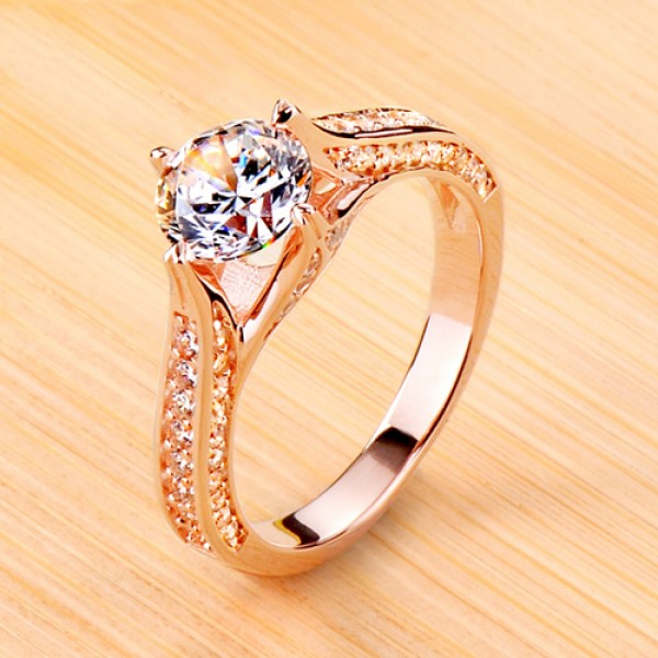 925 Sterling Silver Ring For Women Inlaid Cubic Zirconia Plating Rose Gold Polish Craft Optional Carats Luxury and Exquisite