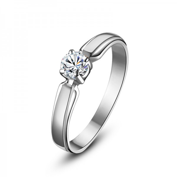 925 Sterling Silver Ring For Women Inlaid Cubic Zirconia 0.2 Carat Polish Craft Simple and Fashion