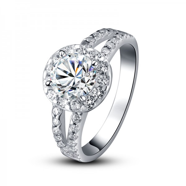 Luxury Large Zircon Heart And Arrow Diamond Ring