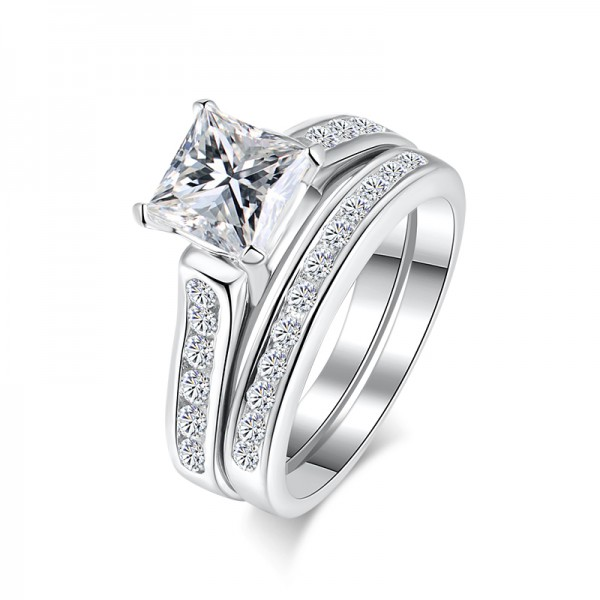925 Sterling Silver Ring For Women Inlaid Cubic Zirconia 1.0 Carat Square and Detachable Design Polish Craft Simple and Liberality