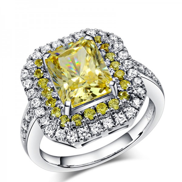 925 Sterling Silver Ring For Women Inlaid Cubic Zirconia 3.0 Carat Yellow Diamond Four Claws Micro-diamond Decoration Polish Craft Luxury and Exquisite