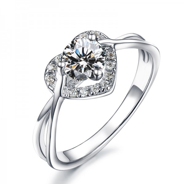 925 Sterling Silver Ring For Women Inlaid Cubic Zirconia 0.5 Carat Unique Design Heart-shaped Style Polish Craft Simple and Liberality