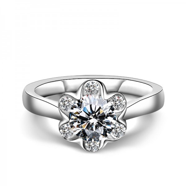 925 Sterling Silver Ring For Women Inlaid Cubic Zirconia Flower Design Polish Craft Fashion and Exquisite Optional Carats