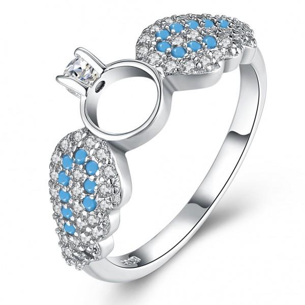Korean Angel Wings Ring Sweet Crown Diamond Engagement Ring