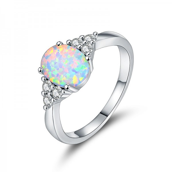 Oval Simple Opal Ring White Gold Plated Engagement Ring