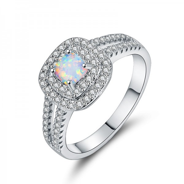 Luxury Diamond Opal Cz Inlaid Engagement Ring/Promise Ring