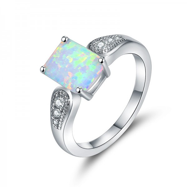 Beautifully Cut Square Opaz Inlaid Zircon Engagement Ring/Promise Ring