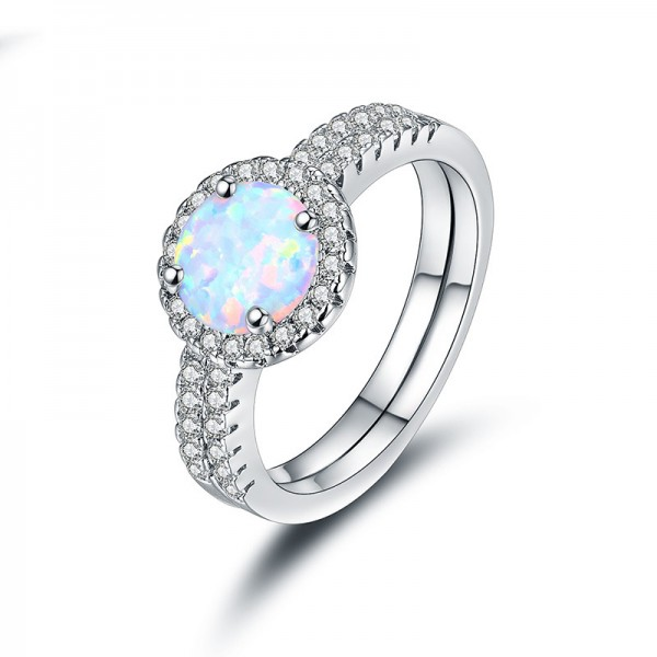 Set Opal Inlaid Zircon Ring Engagement Ring/Promise Ring