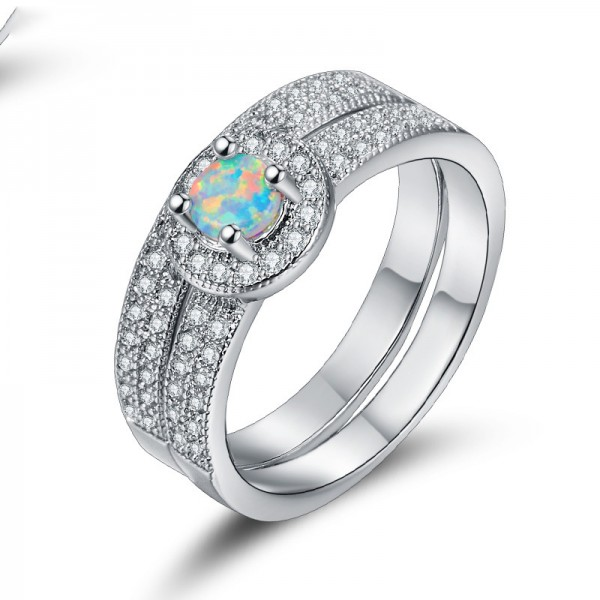 Wide Ring Combination Opal Inlaid Zircon Ring