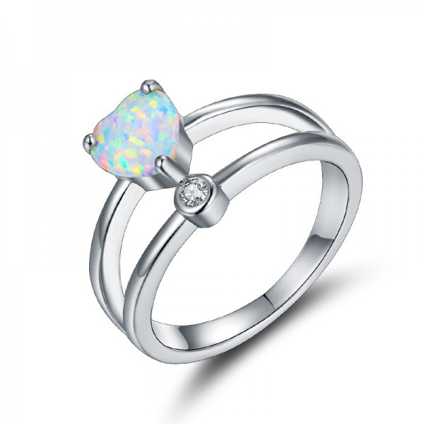 White Gold-Plated Heart Shaped Opal Ring With Cz Promise Ring