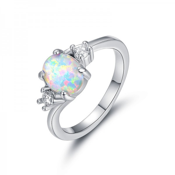 Diamond Simple Opal Engagement Ring/Promise Ring