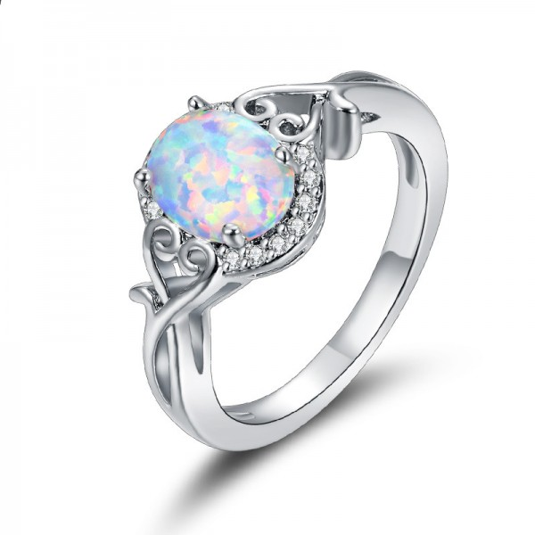 Oval-Shaped Court Style Inlaid Zircon Opal Engagement Ring