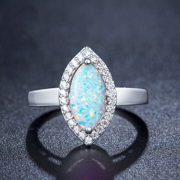 Marquise Fancy Opal Inlaid Cz Engegament Ring