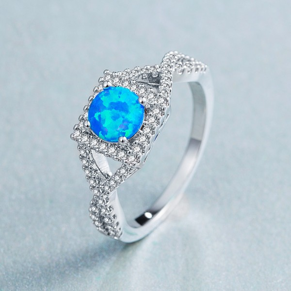 6mm White / Blue Opal Ring Ladies Ring