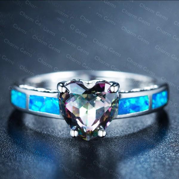 Heart-Shape Rainbow Topaz Blue Engagement Ring