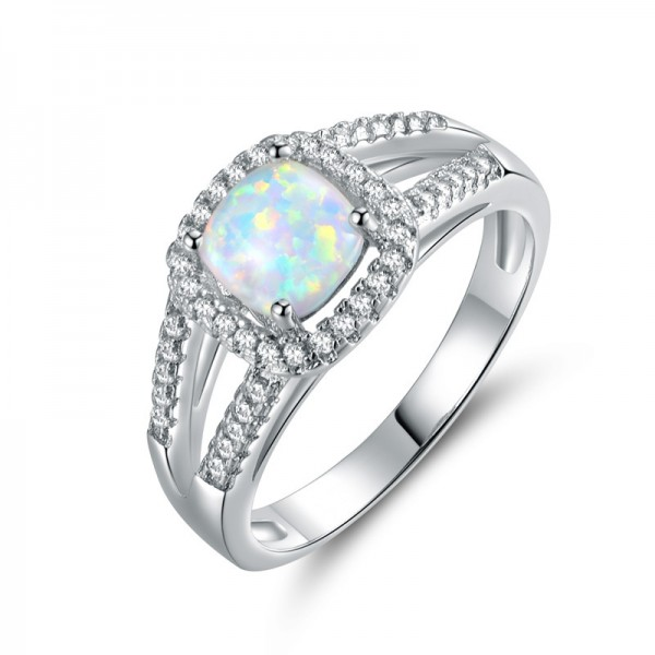 Cushion Opal Promise Ring Inlaid White Sapphire Ring