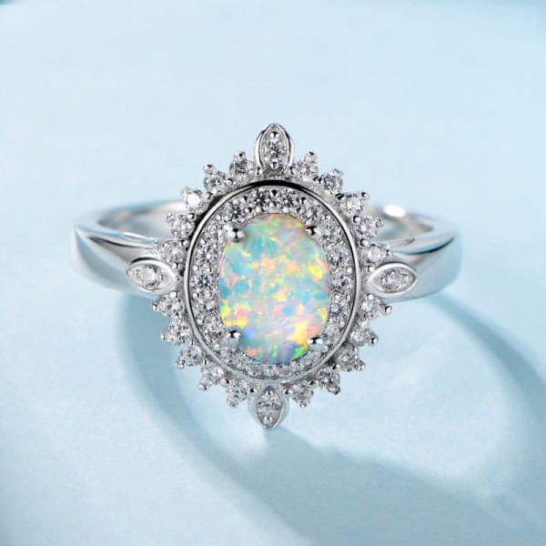 925 Sterling Silver Ring For Women Inlaid Cubic Zirconia and Opal Round Design Luxury and Liberality